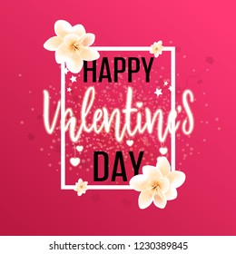 Happy Valentines Day greeting card. Vector template. Romantic poster with frame, flowers and hearts. Love, poster, banner.