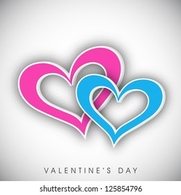 Happy Valentine's Day greeting card, gift card or greeting card with pink and blue hearts on grey background. EPS 10.