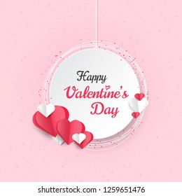 Happy Valentines Day greeting card, white banner with hearts shape in paper cut style.