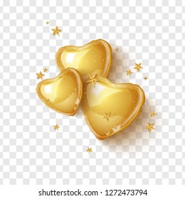 Happy Valentines day greeting card with 3d gold balloon hearts on transparent background. Vector illustration