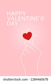 Happy Valentine's Day greeting card with  hand making mini heart. Love sign in Korean style.