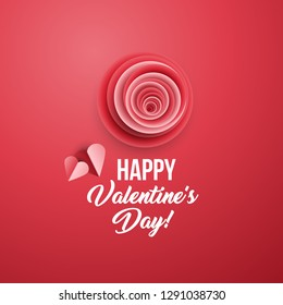Happy Valentine's Day greeting card vector template. 3D red bud, hearts paper cut composition. Volumetric illustration with handwritten lettering and origami element. Banner, poster design