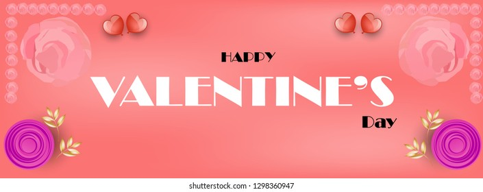 Happy Valentines day greeting card, vector illustration. Beautiful love. - Vector