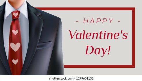Happy Valentine's Day greeting card with formal suit and men with red heart necktie. For formal office greetings