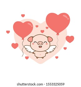 Happy Valentine's day greeting card. Cute  pig angel with heart balloons.