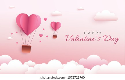 Happy Valentine's Day greeting card design. Holiday banner with hot air heart balloon. Paper art and digital craft style illustration