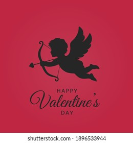 happy valentines day. valentines greeting card with black cupid on red background