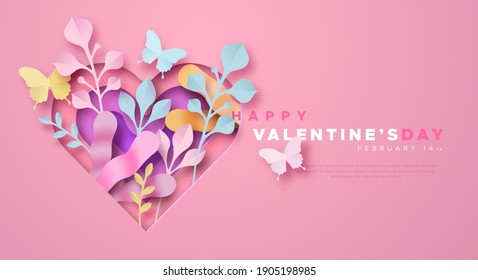 Happy Valentine's Day greeting card template illustration in 3d papercut style. Pink paper craft heart, nature plant leaf and butterfly. Romantic february 14 holiday event design with copy space.