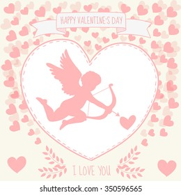Happy valentine's day greeting card. Cupidon is aiming in the heart.  Message I love you. Confession in love