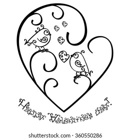 Happy Valentines Day. Greeting card or invitation. Concept. Monochrome black outline pattern with birds of curls Isolated on white background. Vector illustration