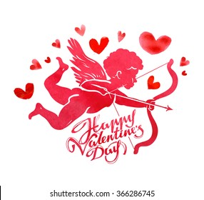 Happy Valentine's day. Greeting card. Angel, Cupid and hearts on a white background. Vector illustration