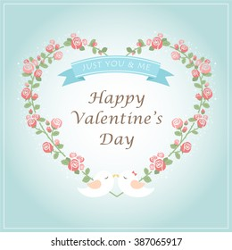 Happy Valentines Day. Greeting card with a floral heart shaped wreath in a tiffany blue background. romantic flowers, red & pink roses, tiffany blue ribbon and lover couple birds. vector illustration.