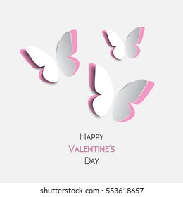 Happy Valentines Day greeting card with paper origami pink butterflies