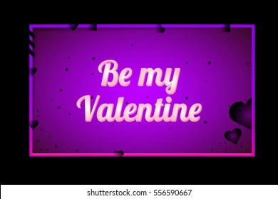 Happy Valentine's Day. Greeting Card the Valentine day on pink background with hearts, ribbons and decorations. Elements for wedding design. Be my valentine. Congratulations to all lovers. Horizontal