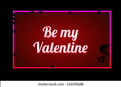 Happy Valentine's Day. Greeting Card the Valentine day on red background with hearts, ribbons and decorations. Elements for wedding design. Be my valentine. Congratulations to all lovers. Horizontal