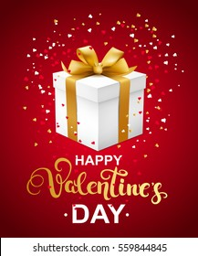 Happy Valentines day greeting card with callygraphy, hearts confetti and gift box. Vector illustration.