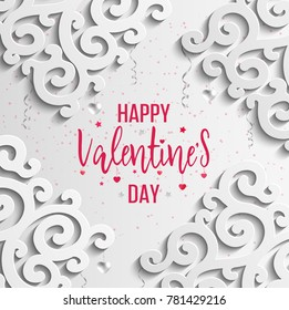 Happy Valentines Day greeting card. Vector template. Romantic poster with 3d pattern, hearts. Love, poster, banner.