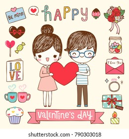Happy valentine's day greeting card, postcard, poster with cute cartoon girl and boy holding big red heart with text. Icons and design elements collection. Flat design. Colored vector illustration.