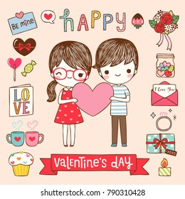 Happy valentine's day greeting card, postcard, poster with cute cartoon girl and boy holding big pink heart with text. Icons and design elements collection. Flat design. Colored vector illustration.