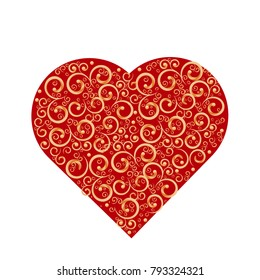 Happy Valentine's Day greeting card, gift card or greeting card with golden decorated heart on white background.A beautiful patterned heart. EPS 10.