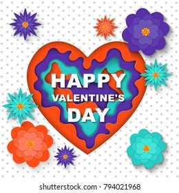 Happy Valentine's Day. Greeting card heart  with paper cut shapes. Modern style, paper art ultraviolet.