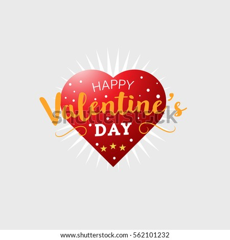 Happy Valentines Day Greeting Card Typography Stock Vector Royalty