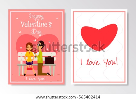 Happy Valentines Day Greeting Card Template Stock Vector Royalty