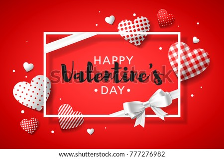 Happy valentines day greeting card design stock vector royalty free happy valentines day greeting card design with frame gift bow and different patterns hearts m4hsunfo