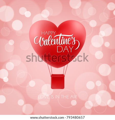 Happy valentines day greeting card hand stock vector royalty free happy valentines day greeting card with hand drawn lettering and realistic heart shape hot air balloon m4hsunfo