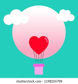 Happy Valentine's Day greeting cards with heart-shaped balloons over pastel circles and green background with romantic desires as vector illustrations.