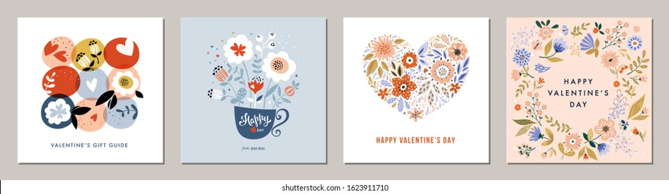 Happy Valentine's Day greeting cards. Floral square templates. Suitable for social media posts, mobile apps, banners design and web/internet ads. Vector fashion backgrounds.
