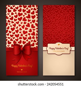 Happy Valentine's Day greeting cards. Vector illustration. Place for your text message.