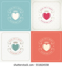 Happy Valentines Day Greeting Cards or Posters Set Vector illustration. Retro typography design and texture background. Heart shape symbol and elements, Love Concept.