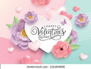 Happy Valentine's Day greetings design with beautiful blossom flowers