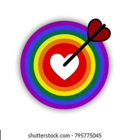 Happy valentines day greetings with  heart shape arrow and rainbow board in white background.  LGBT love