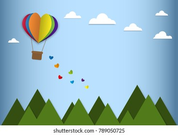 Happy valentines day greetings with paper cut heart shape rainbow balloons flying and hearts elements in blue background. hearts falling. 3D realistic vector illustration design. LGBT love