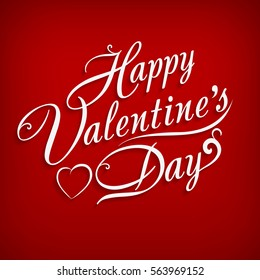 happy valentines day hand drawing inscription happy valentines day text on red background lettering