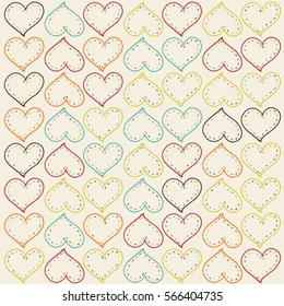 Happy Valentines Day. Hand drawing seamless vector pattern.