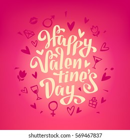 Happy Valentine's Day Hand Drawing Cartoon Style Lettering design on Pink Background. Isolated vector
