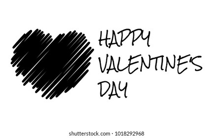 happy valentine's day, hand drawn greetings card with black heart