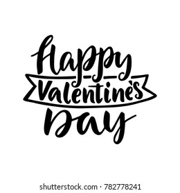 Happy Valentine's day. Hand drawn vintage illustration with hand-lettering. This illustration can be used as a greeting card for Valentine's day or wedding.