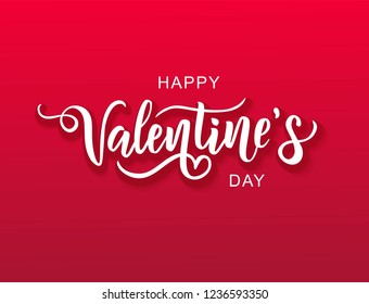 Happy Valentine's day hand lettering on red background. Vector typography. Romantic quote postcard, card, invitation, banner template.