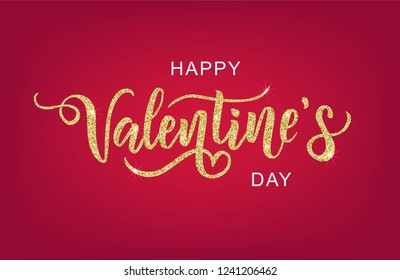 Happy Valentine's day hand lettering on red background. Vector. Romantic quote postcard, card, invitation, banner template.