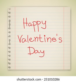 Happy Valentine's Day hand lettering note paper vector