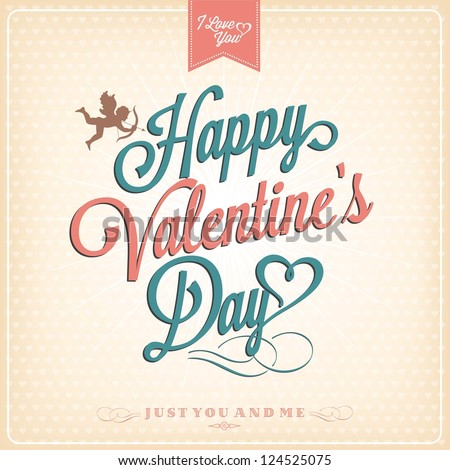 Happy Valentines Day Hand Lettering Typographical Stock Vector