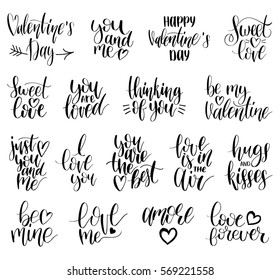 Happy Valentine's day handwritten lettering set. February 14 modern calligraphy collection on white background for greeting or invitation cards, festive tags, posters etc.