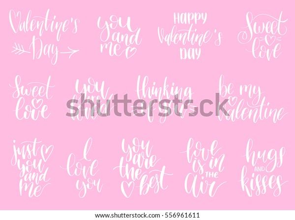 Happy Valentines Day Handwritten Lettering Quotes Stock ...