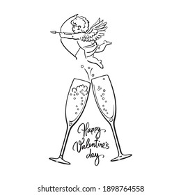 Happy Valentine's Day handwritten text, sketch of cute Cupid aiming bow and arrow and two glasses of champagne. Valentines Day greeting card. Vector illustration isolated on white background.