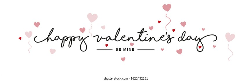 Happy Valentine's Day handwritten typography lettering red pink hearts white banner - Shutterstock ID 1622432131