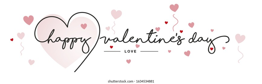 Happy Valentine's Day handwritten typography lettering line heart red pink hearts white greeting card banner - Shutterstock ID 1634534881